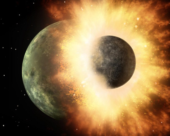 Moon colliding with a planet
